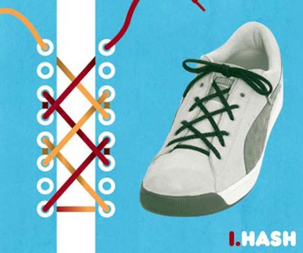 Cách thắt dây giày kiểu HASH