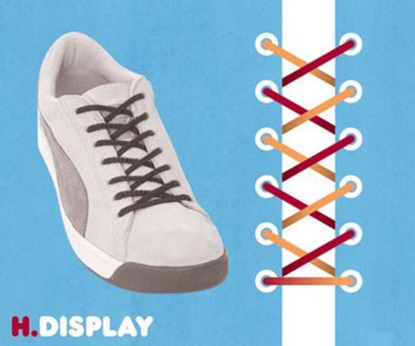 Cách thắt dây giày kiểu chéo thông dụng