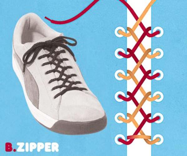 Cách thắt dây giầy kểu dây kéo