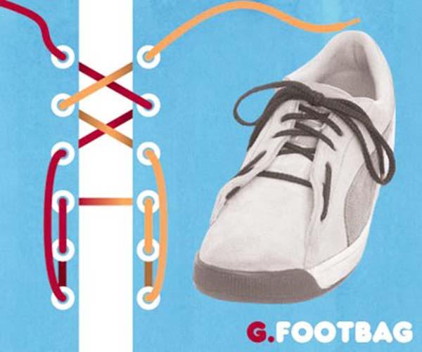 Cách thắt dây giày kiểu Footbag