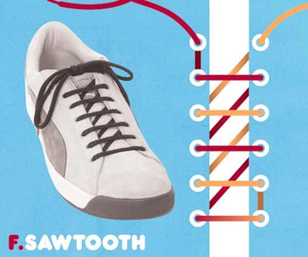 Cách thắt dây giày kiểu răng cưa