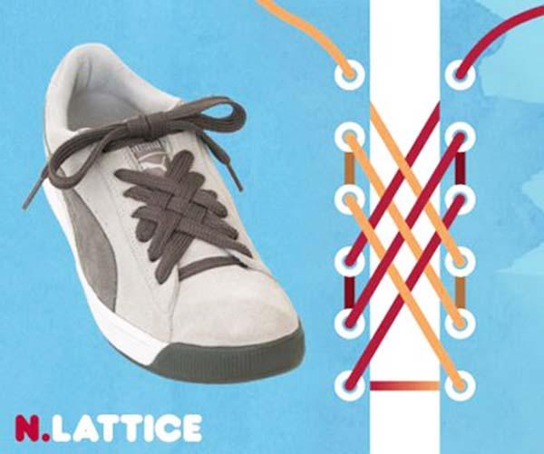 Cách thắt dây giày kiểu Lattice