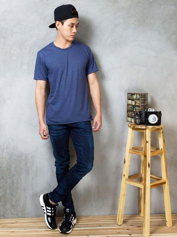 Phong cách thời trang hàn quốc dành cho nam :Quần jeans và áo thun