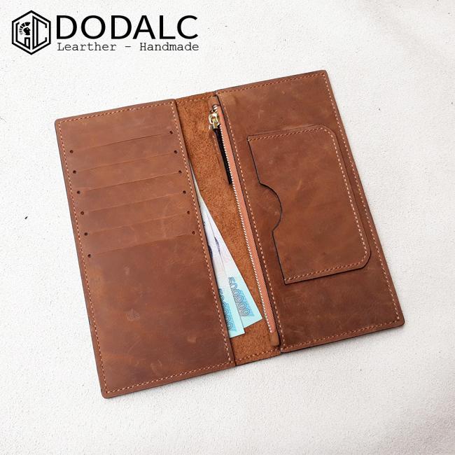 Ví da nam cầm tay Handmade 012 - Chất liệu dạin 100%