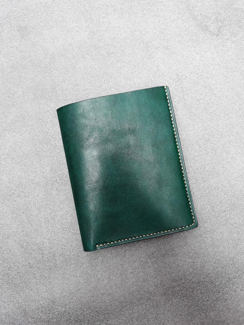 Ví da nam Handmade 013 - Mẫu ví da màu xanh lá cây