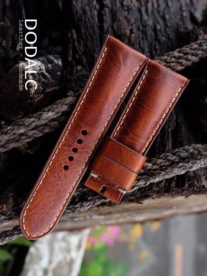 Dây đồng hồ da bò handmade 032 - Có đệm trong