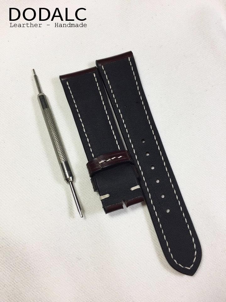 Mặt trong của dây đồng hồ handmade da bò 026