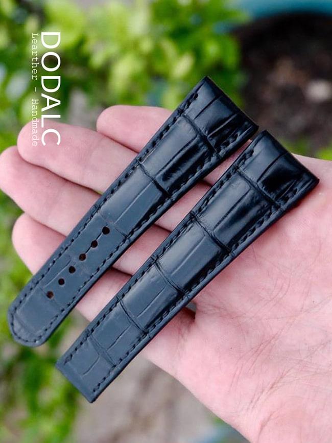 Dây đồng hồ handmade da cá sấu nguyên con 028