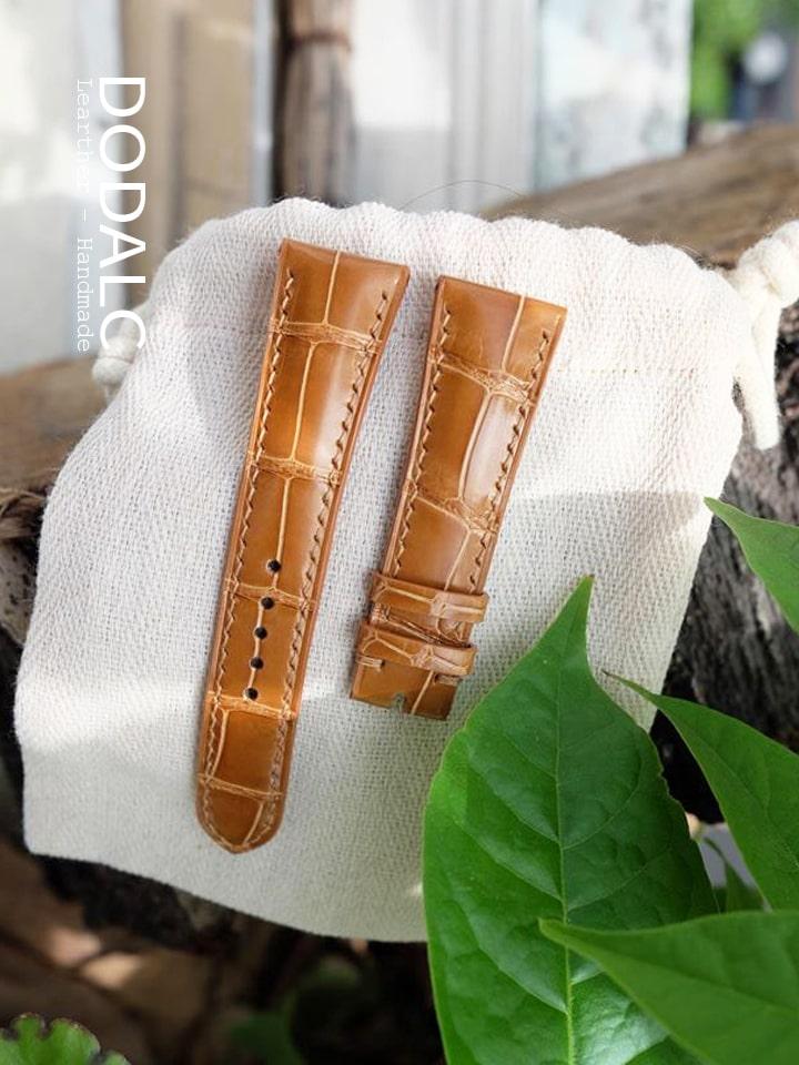 DODALC - dây đồng hồ handmade da cá sấu 029