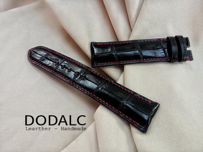 Mẫu dây đồng hồ da cá sấu cần thơ màu đen của DODALC