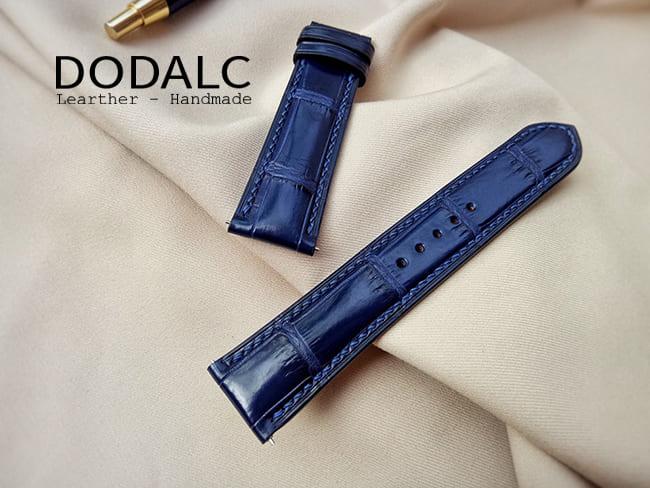 Dây đồng hồ da cá sấu màu xanh NAVY của DODALC