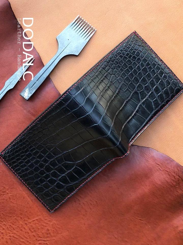 DODALC - Ví da nam handmade da cá sấu 001 - Chất liệu da bò tự nhiên 100%