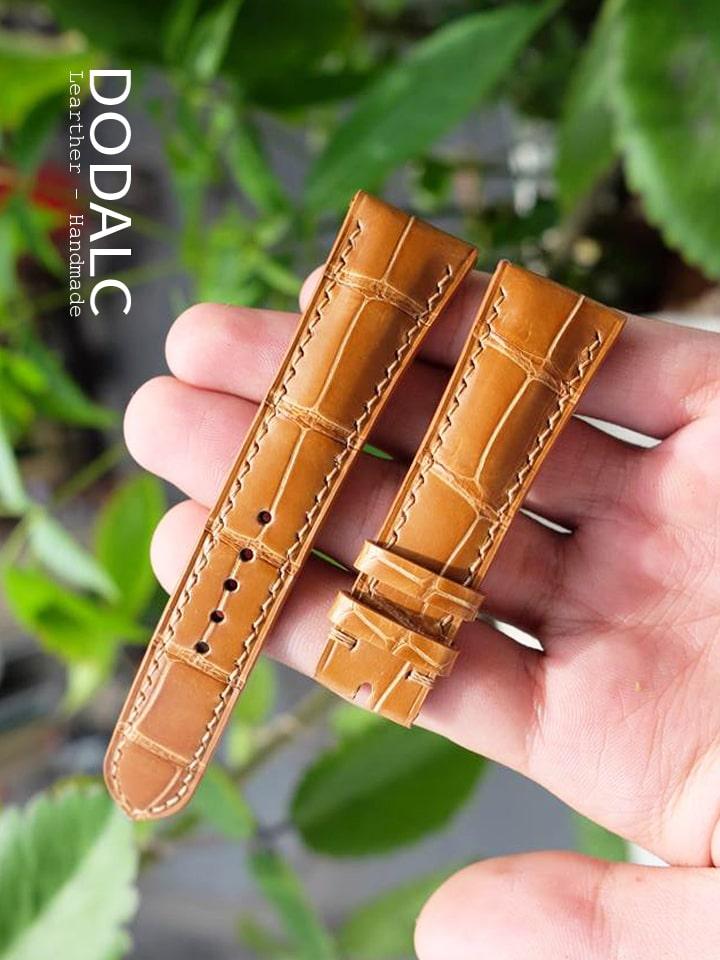 Dây da đồng hồ handmade da cá sấu sản phẩm thủ công của DODALC